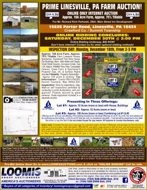 Prime Linesville, PA Farm Online Only Internet Auction