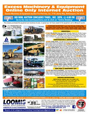 Excess Machinery & Equipment Internet Auction